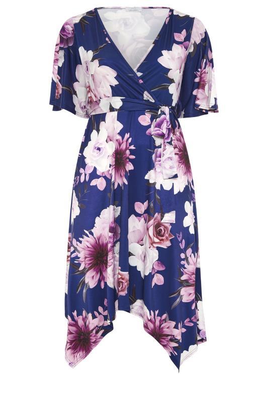 YOURS LONDON Navy Floral Wrap Hanky Hem Dress_F.jpg
