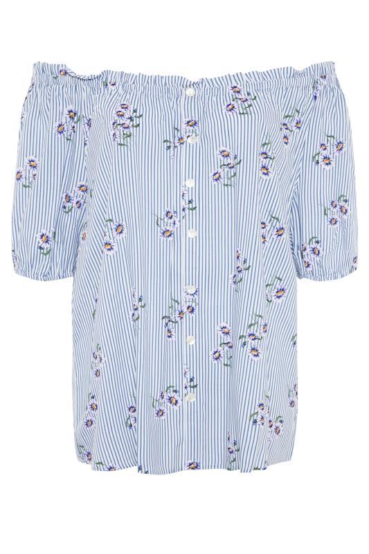 Blue Stripe Floral Button Bardot Top_f.jpg