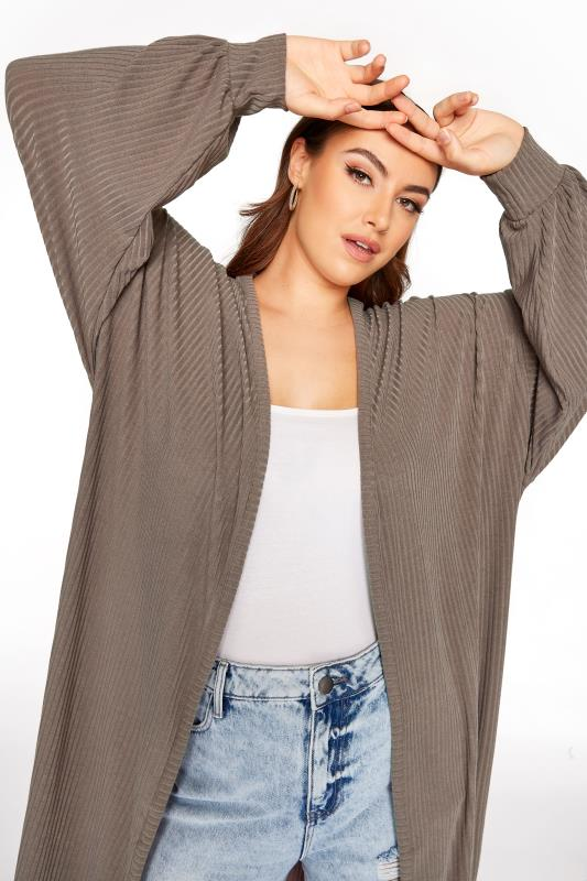 LIMITED COLLECTION Mocha Ribbed Long Cardigan_D.jpg