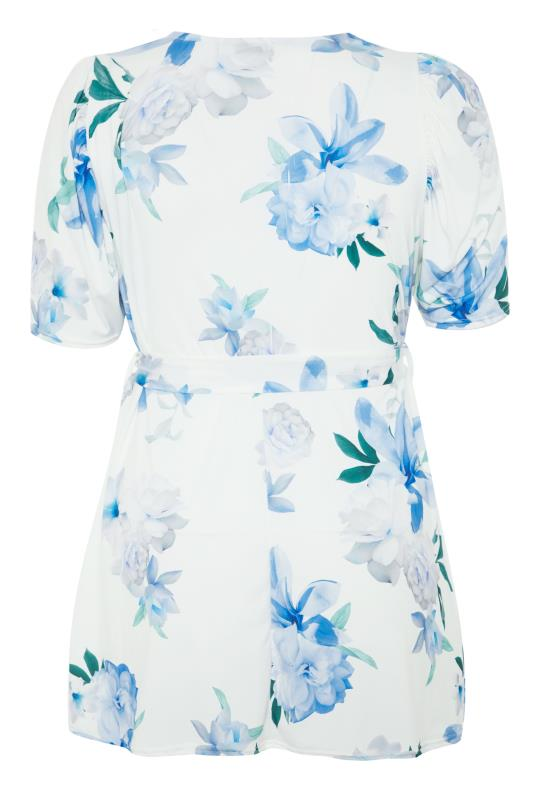 YOURS LONDON White Floral Puff Sleeve Wrap Top_bk.jpg