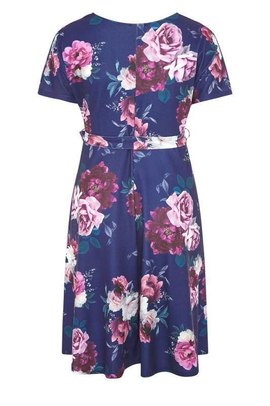 YOURS LONDON Blue Floral Rose Skater Dress_BK.jpg