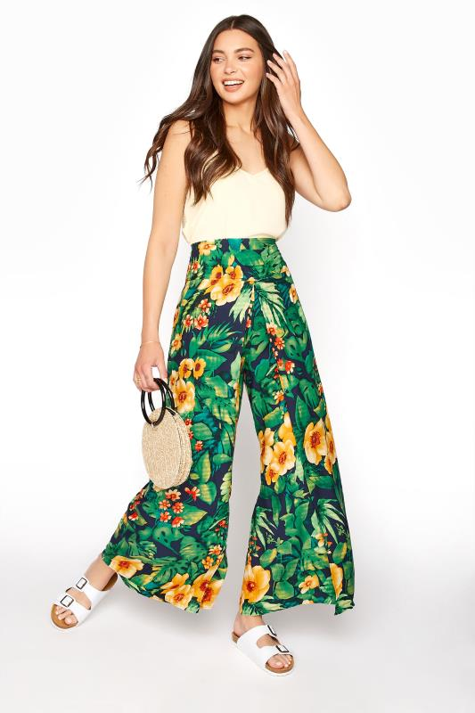 Tall  LTS Green Tropical Print Overlay Wide Leg Trousers