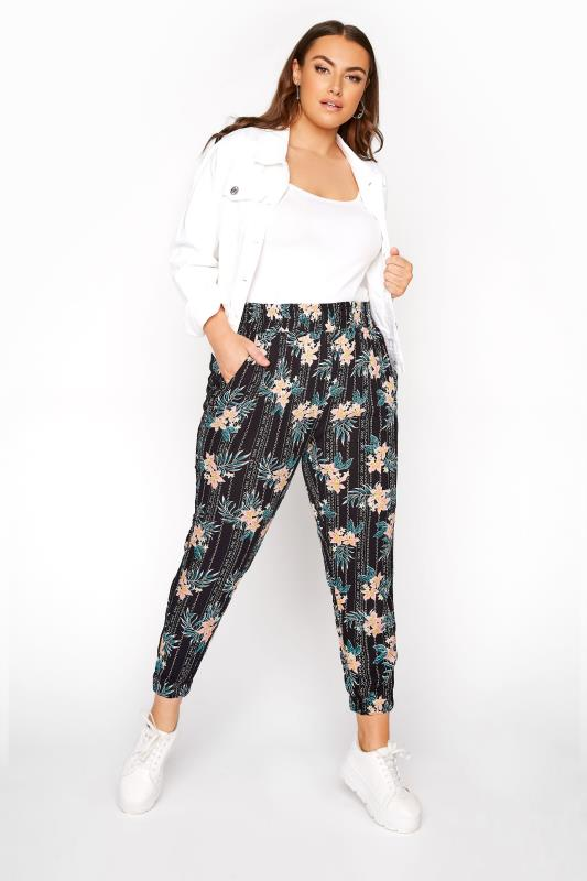 Plus Size  Multi Floral Crinkle Harem Trousers