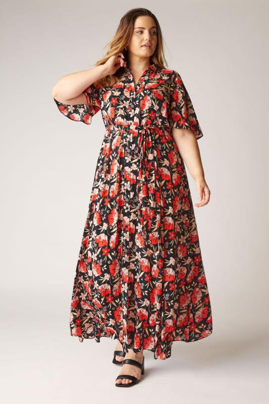 Plus Size  THE LIMITED EDIT Black Floral Collared Maxi Dress