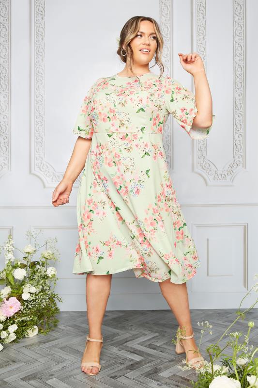 YOURS LONDON Sage Green Floral Dress_L.jpg