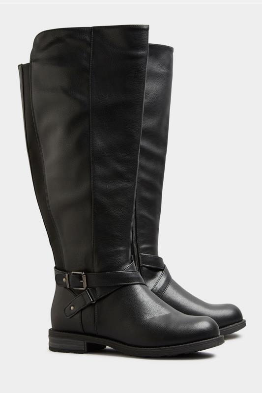 Black Faux Leather Knee High Boots In Extra Wide Fit_B.jpg