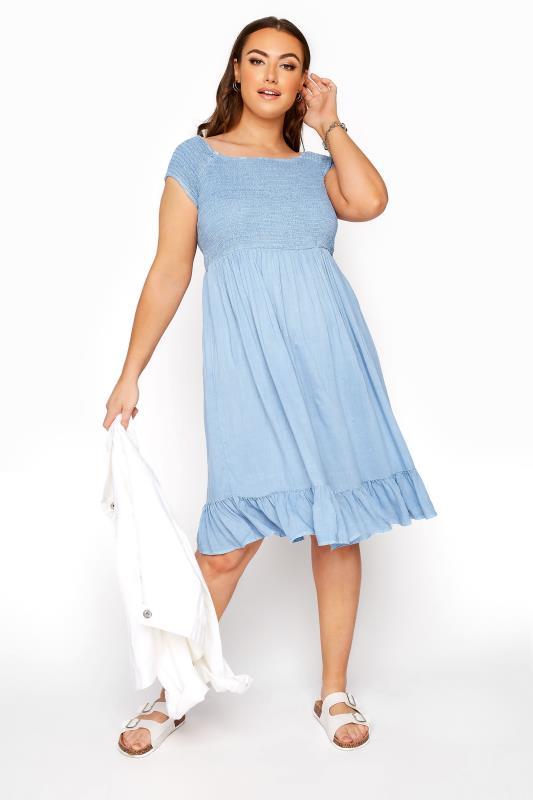 Blaues Bardot Kleid mit gerafftem Mieder in Acid Waschung