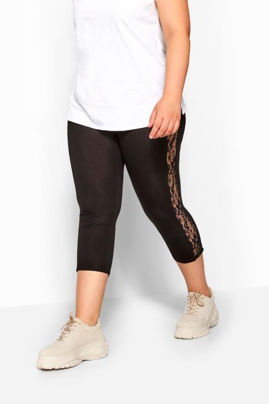 Black Lace Insert Cropped Leggings