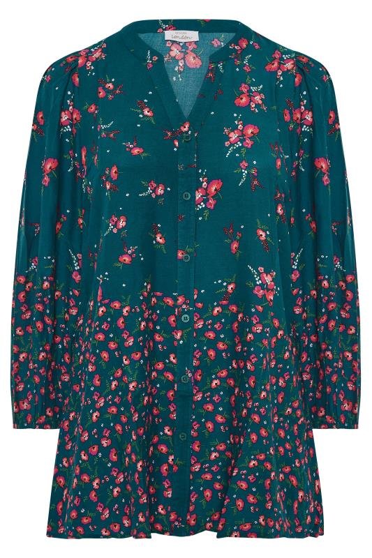 YOURS LONDON Green Floral Button Through Swing Blouse_F.jpg