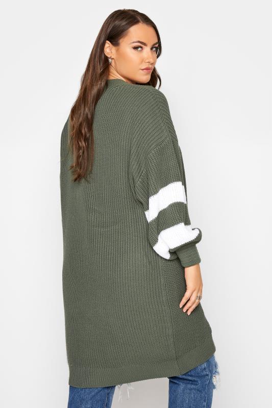 Khaki Varsity Stripes Knitted Cardigan_C.jpg