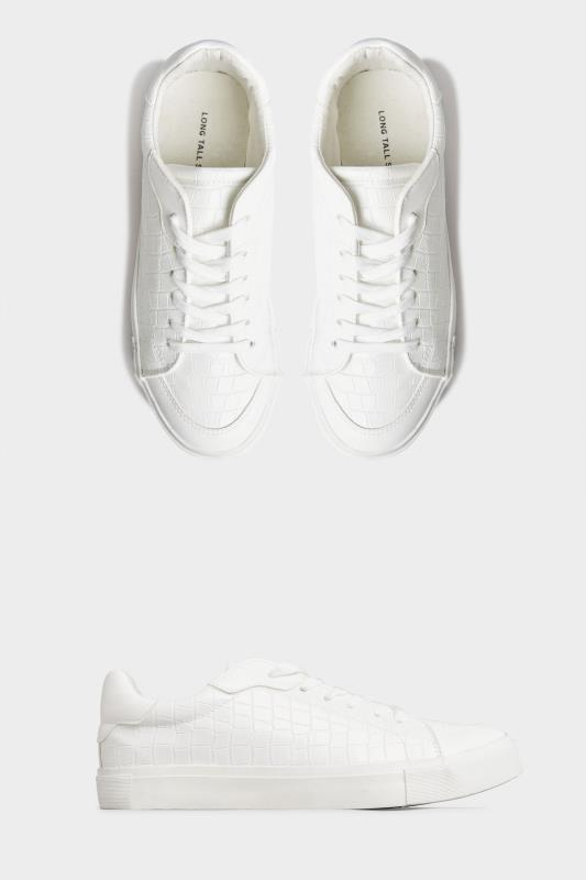 LTS White Croc Lace Up Trainers