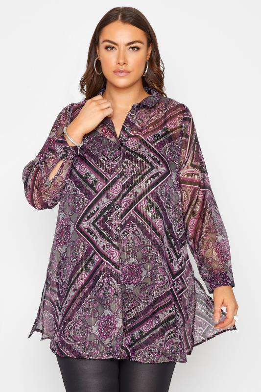Plus Size  YOURS LONDON Purple Paisley Print Longline Shirt