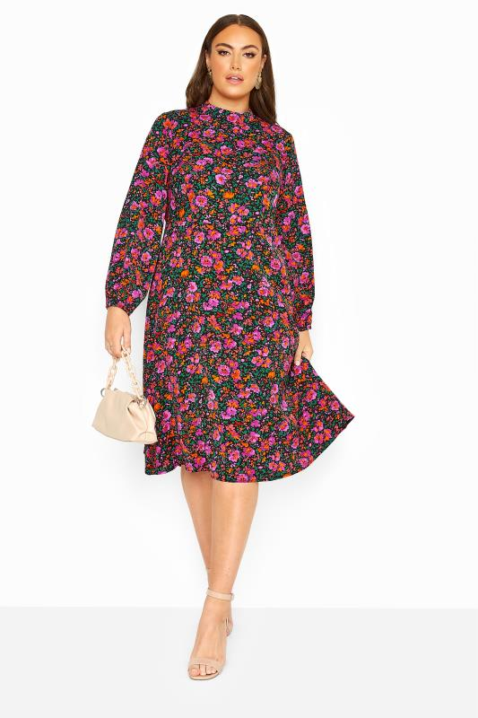 Plus Size  YOURS LONDON Pink Floral Turtleneck Skater Midi Dress