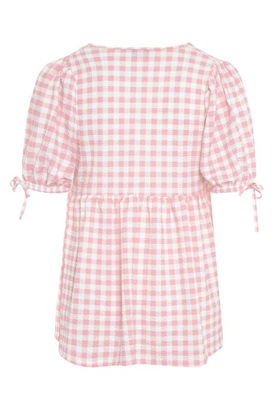 LIMITED COLLECTION Pink Gingham Wrap Front Smock Top_BK.jpg