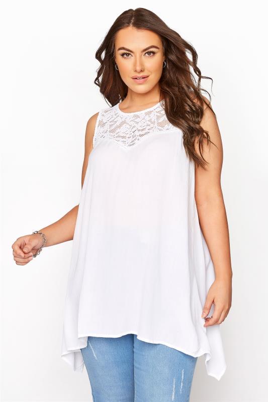 Plus Size  White Lace Vest