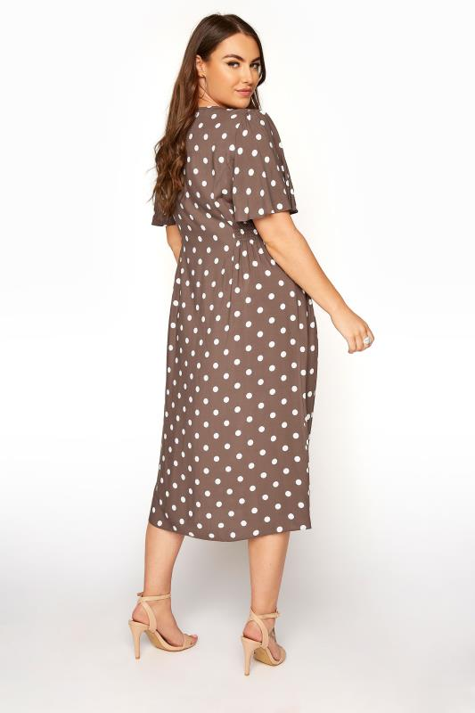 YOURS LONDON Brown Polka Dot Button Through Midi Dress_C.jpg