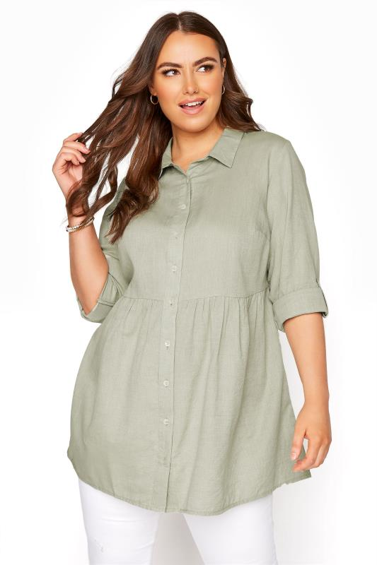 Plus Size  Khaki Chambray Peplum Shirt