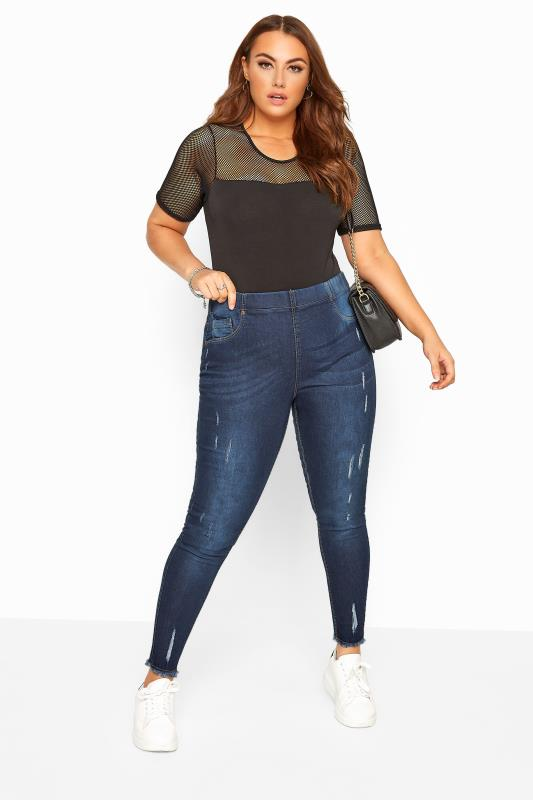 Plus Size Jeggings Indigo Distressed Cat Scratch JENNY Jeggings