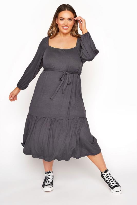 LIMITED COLLECTION Charcoal Grey Millkmaid Tiered Midi Dress
