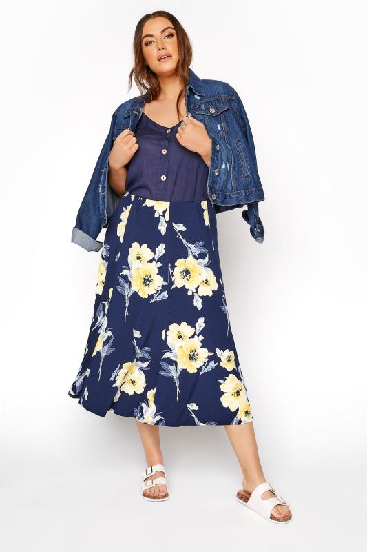 Navy & Yellow Floral Midi Skirt