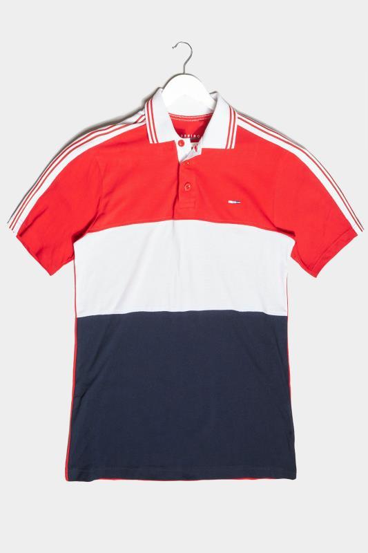 Men's  BadRhino Red Colour Block Tape Polo Shirt