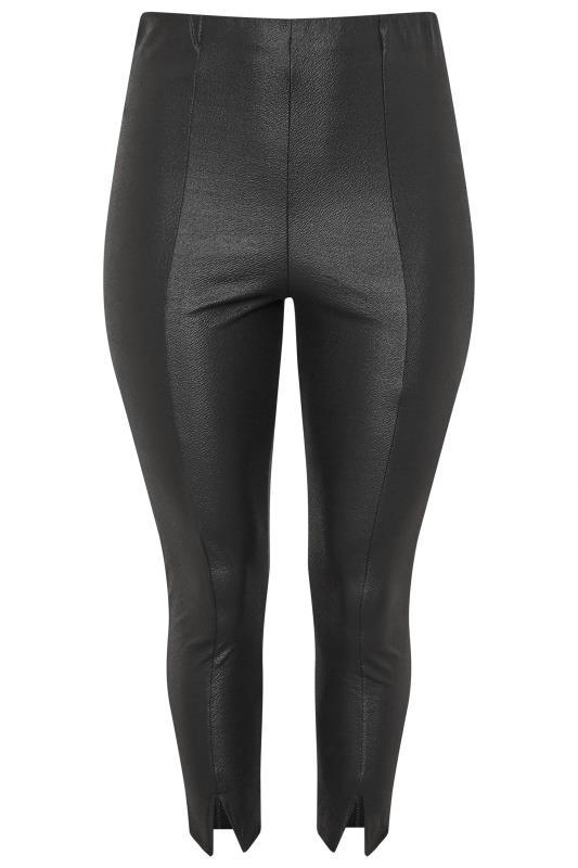 Black Coated Ponte Slim Tapered Split Hem Trousers