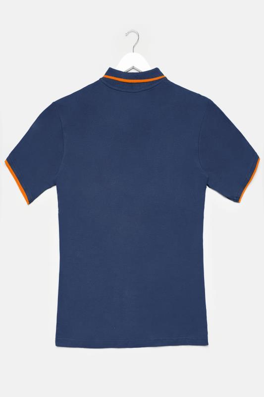 BadRhino Navy Contrast Tipped Polo Shirt