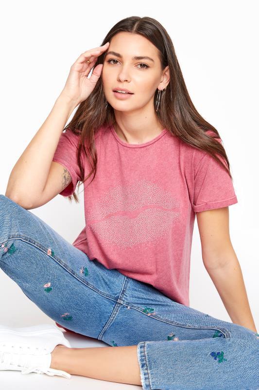 Tall  LTS Pink Acid Wash Stud Lips Print T-Shirt