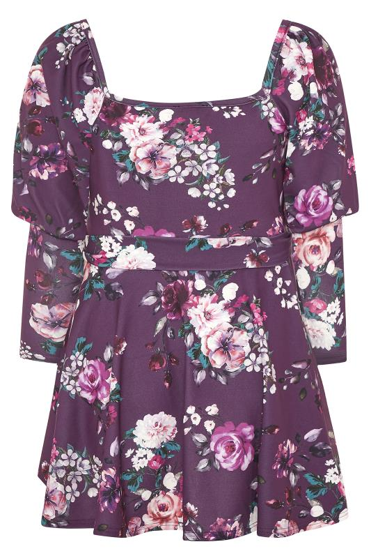 YOURS LONDON Purple Floral Square Neck Belted Peplum Top