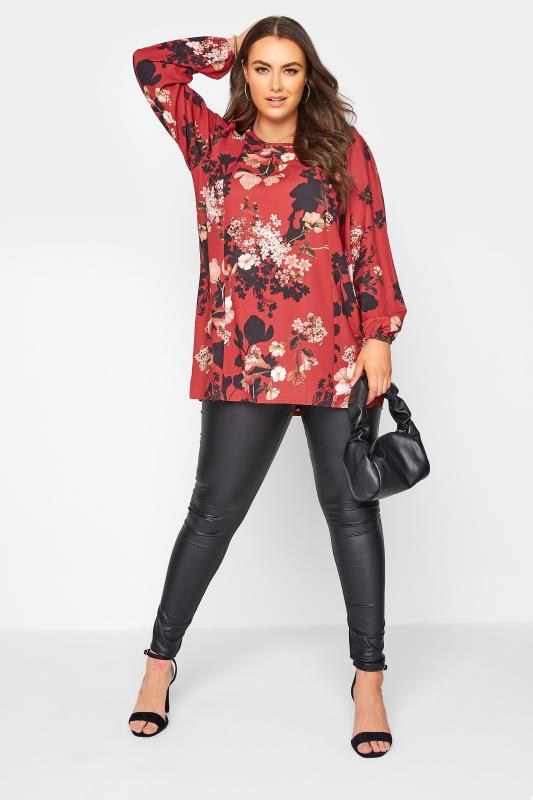 YOURS LONDON Red Floral Balloon Sleeve Blouse_B.jpg