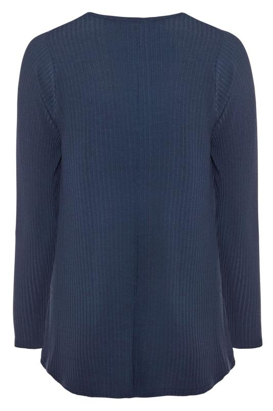 LIMITED COLLECTION Navy Ribbed Long Sleeve Top