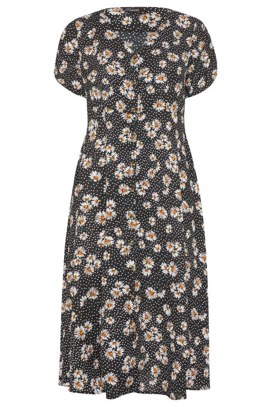 LIMITED COLLECTION Black Daisy Ruched Maxi Dress_F.jpg