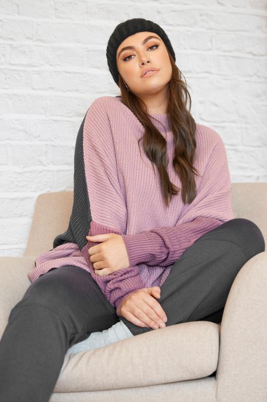 Purple Colour Block Oversized Knitted Jumper_L.jpg