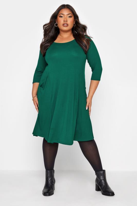 Plus Size  Forest Green Drape Pocket Dress