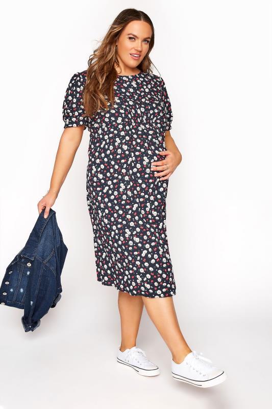 BUMP IT UP MATERNITY Navy Floral Puff Sleeve Midi Dress_B.jpg