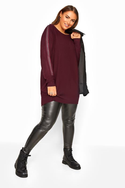 Burgundy Zip Sleeve Knitted Jumper