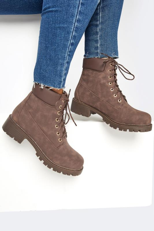 Plus Size  Chocolate Brown Chunky Lace Up Boots In Extra Wide Fit