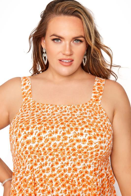 Orange Floral Shirred Smock Vest Top_D.jpg
