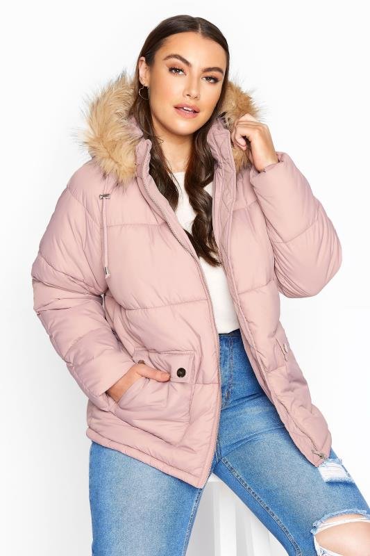 Plus Size  Pink Cropped Padded Puffer Jacket
