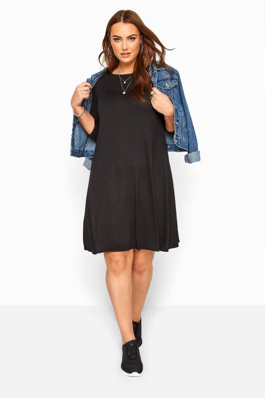 Plus Size Jersey Dresses Black Swing Dress