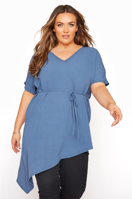 Plus Size  YOURS LONDON Steel Blue Belted Asymmetric Crepe Blouse