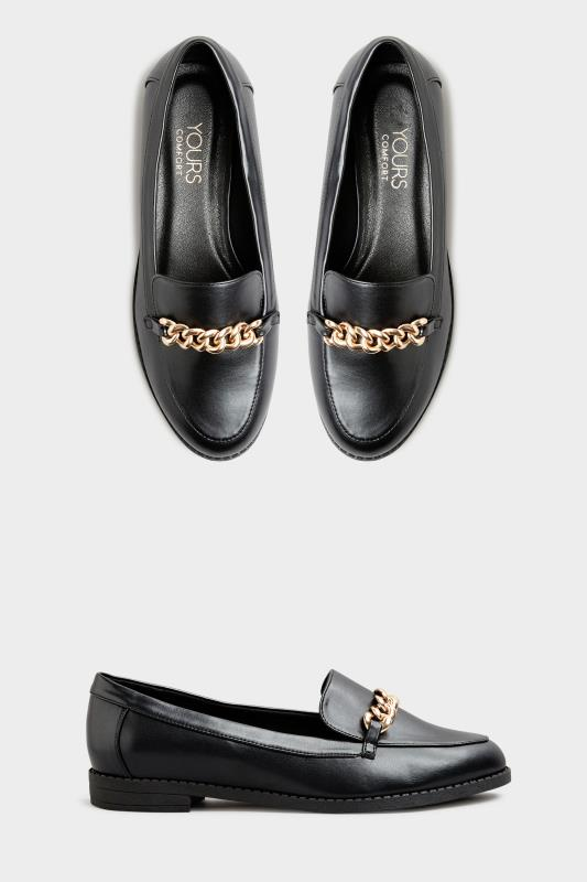 Black Chain Loafers In Extra Wide Fit_A.jpg