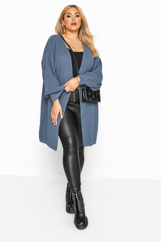 Plus Size Cardigans Blue Oversized Balloon Sleeve Knitted Cardigan