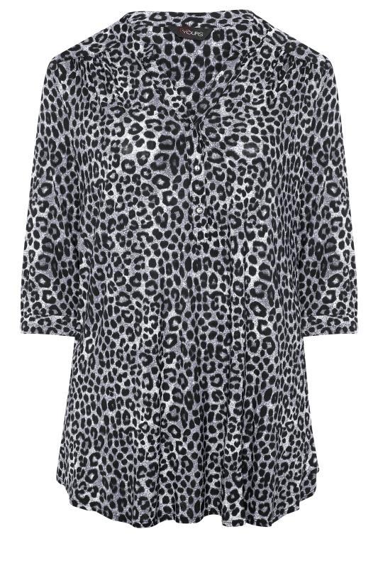 Tallas Grandes Grey Leopard Print Grandad Collar Shirt