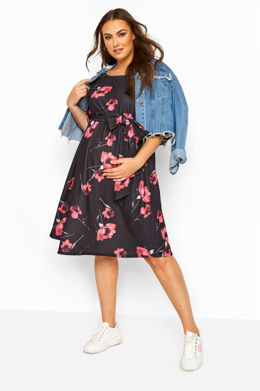 BUMP IT UP MATERNITY Black Floral Ruffle Sleeve Dress