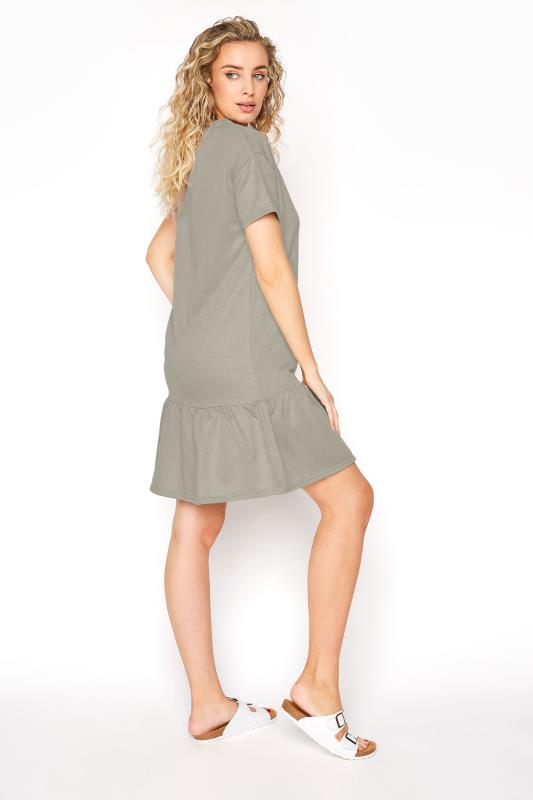 LTS Khaki Jersey Sweat Frill Hem Dress_C.jpg