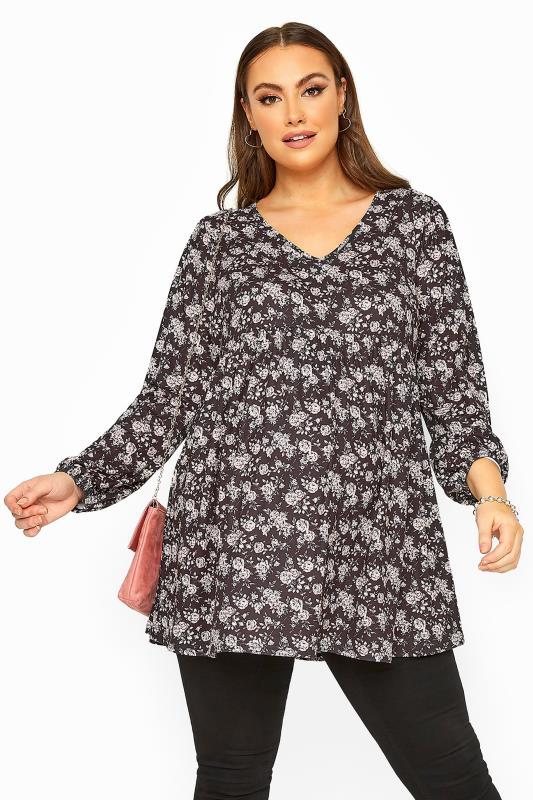Plus Size Casual / Every Day BUMP IT UP MATERNITY Black Floral Peplum Top