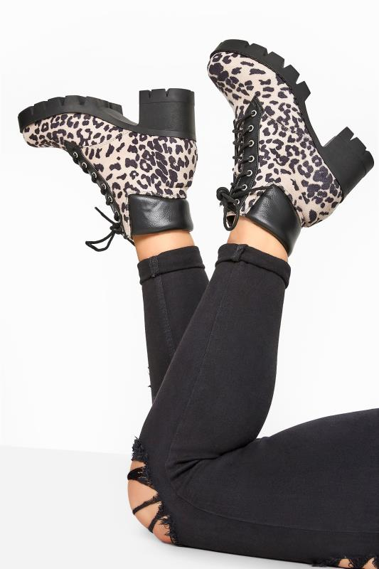 Wide Fit Boots LIMITED COLLECTION Pink Faux Suede Leopard Platform Lace Up Heeled Boots In Wide Fit