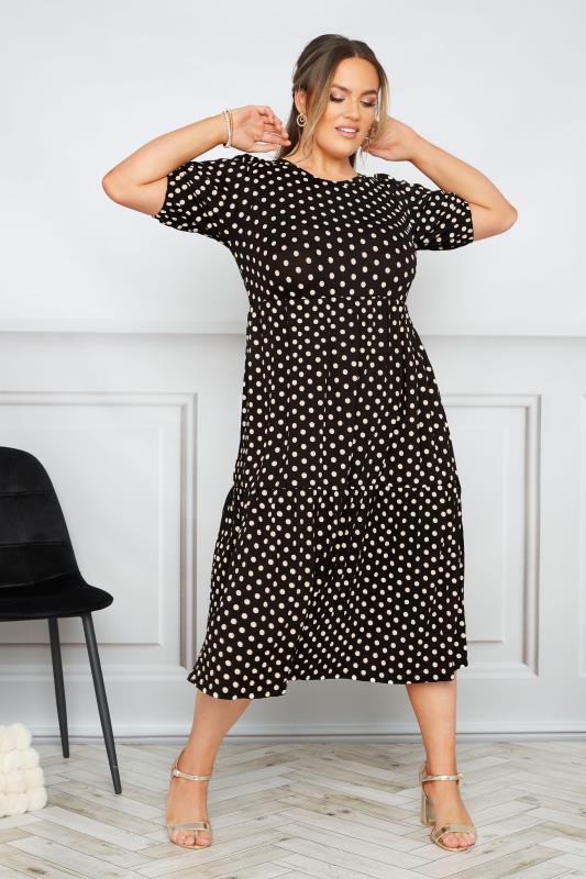 Plus Size  Black Puff Sleeve Polka Dot Midaxi Dress