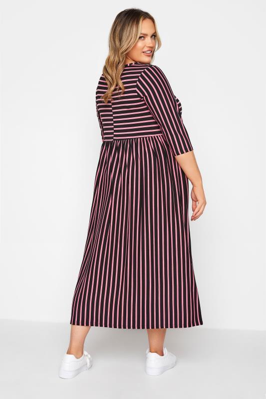 LIMITED COLLECTION Black & Pink Stripe Midaxi Dress_C.jpg